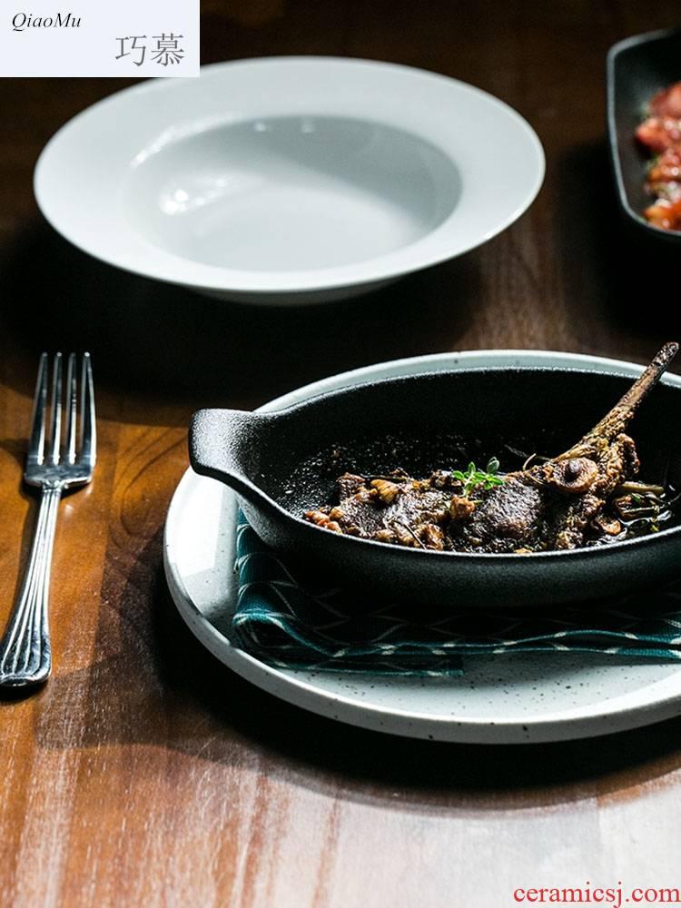 Qiao mu fu series ears pan iron glaze 】 【 2 types of creative ceramic dinner plate sushi plate of flat