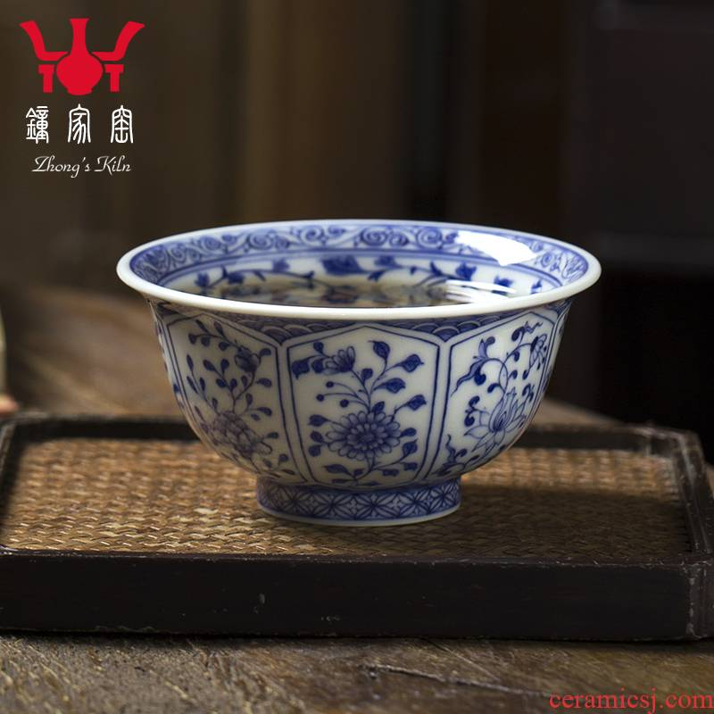 Have blue and white maintain internal and external trade, one cup full of workers floral cup full manual single glass ceramic cups kung fu tea set