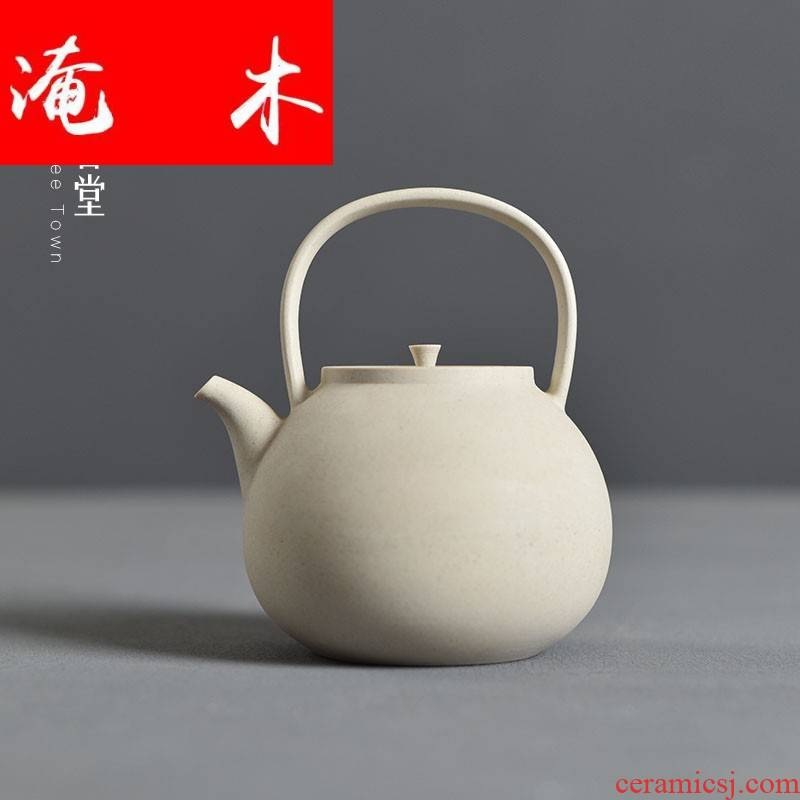Submerged wood to heat the old rock sand clay pot of boiled coarse pottery teapot girder Diao jade book simmer alcohol tea stove'm white pottery kettle