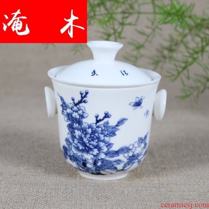 Submerged wood, ceramic kung fu tea set with parts safflower tea single lid of blue and white porcelain bowl with filter blunt tea ears