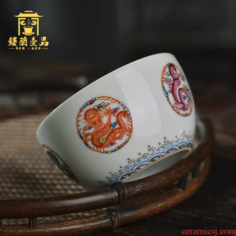Jingdezhen ceramic all hand pastel group dragon master cup of tea large single CPU kung fu tea cups solo