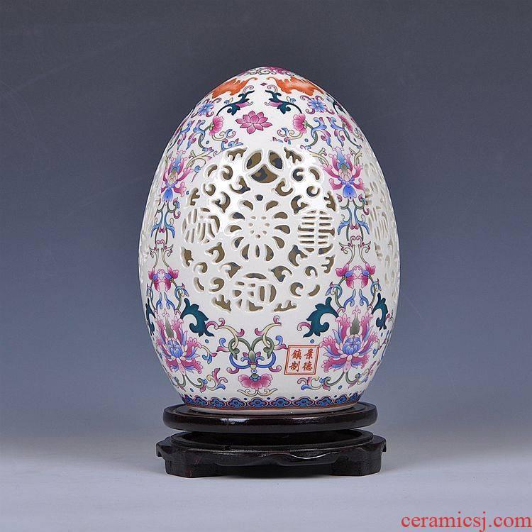 Jingdezhen ceramics hollow - out furnishing articles modern household adornment ivory porcelain enamel porcelain arts and crafts