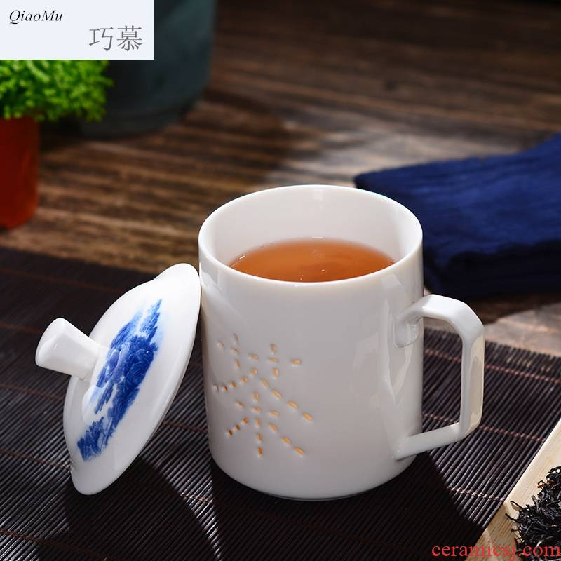 Qiao mu jingdezhen ceramic cups with cover household double hollow out tea cup large glass office gift customization