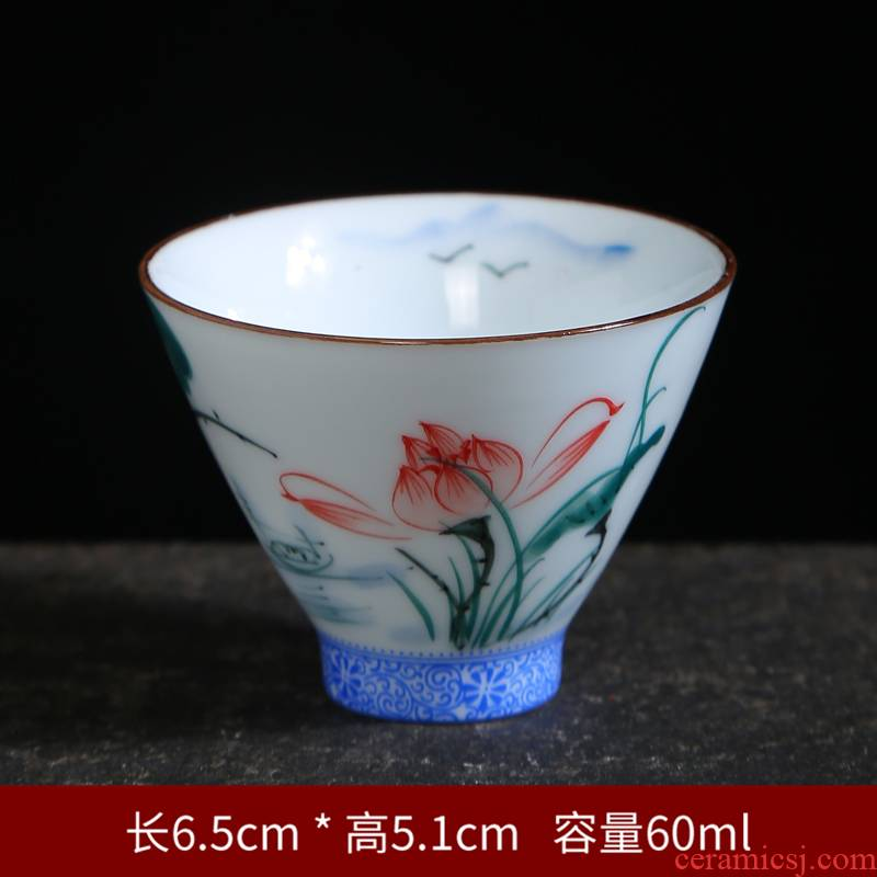 Manual hat to a cup of blue and white porcelain sample tea cup hand - made ceramic cups individual CPU master cup bowl kung fu tea set