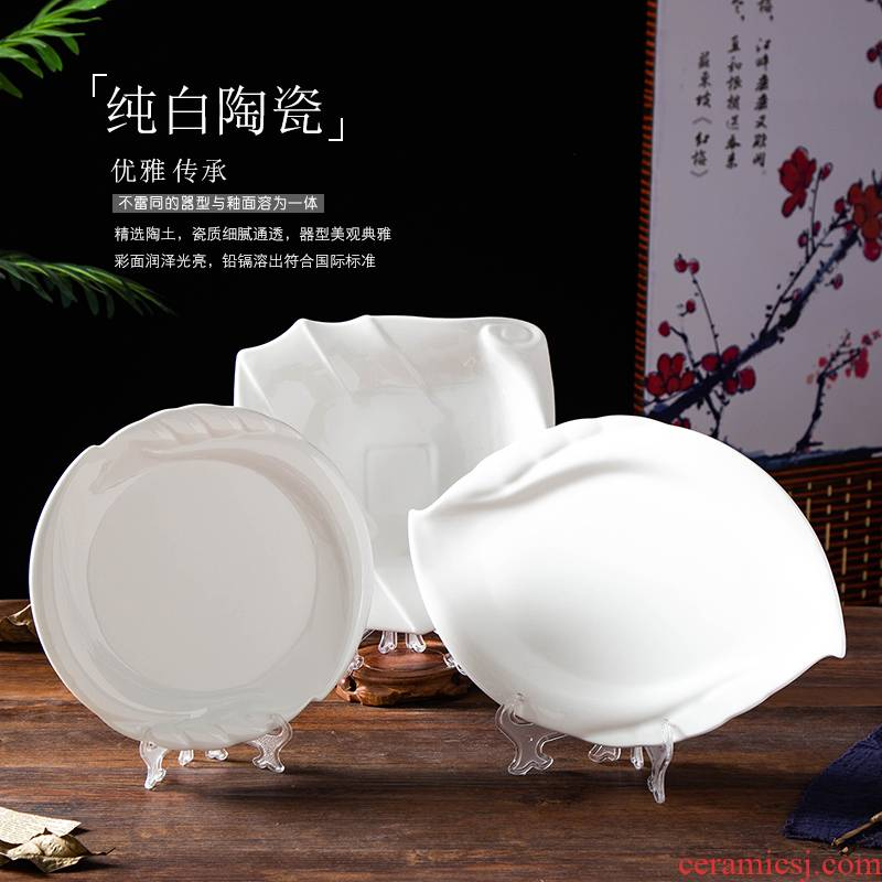 Hotel supplies tableware pure white ceramic plate the features irregular rectangular creative wholesale food dish soup bowl dishes