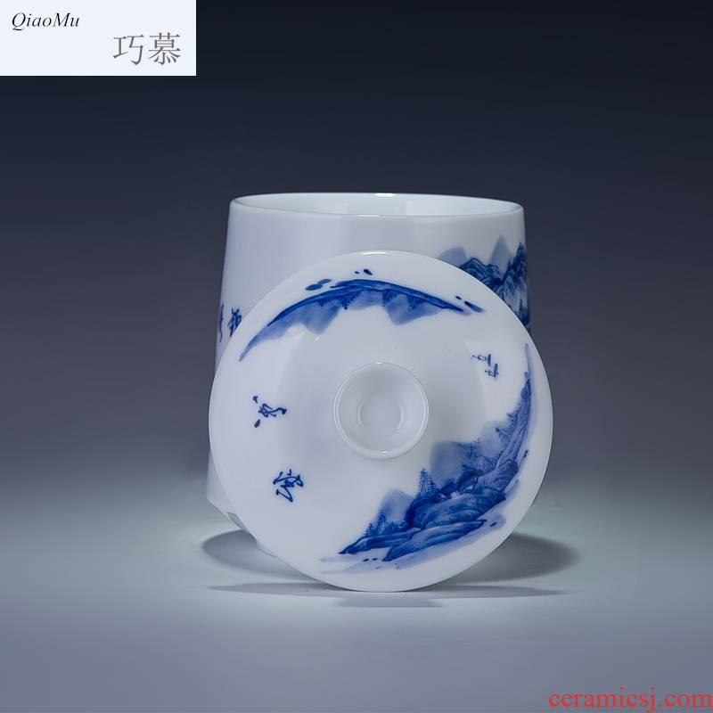 Qiao mu jingdezhen ceramic cups with cover ipads China mugs porcelain cup office meeting