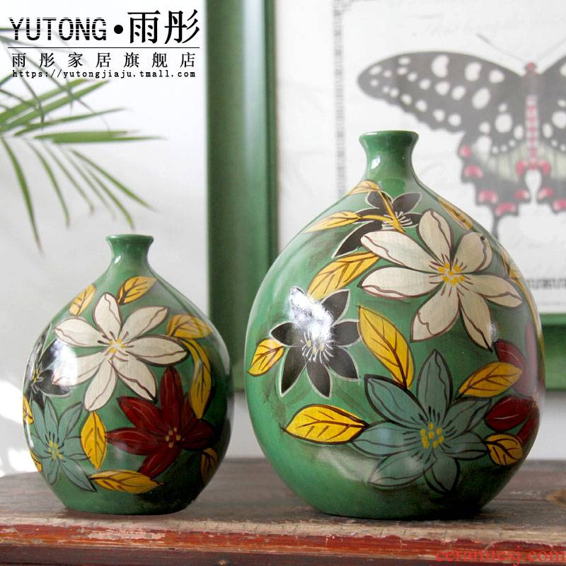 New Chinese style classical modern hand - made ceramic furnishing articles green vase rich ancient frame porch ark, European - style decoration