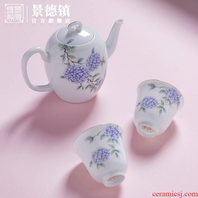 Jingdezhen flagship store tea suit creative hand - made paint ceramic teapot tea cup tea gifts