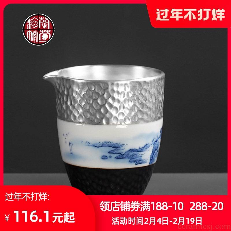 Tasted silver gilding and rivers and a cup of kunfu tea tea ware domestic Japanese tea set points blue and white porcelain ceramic fair keller cups
