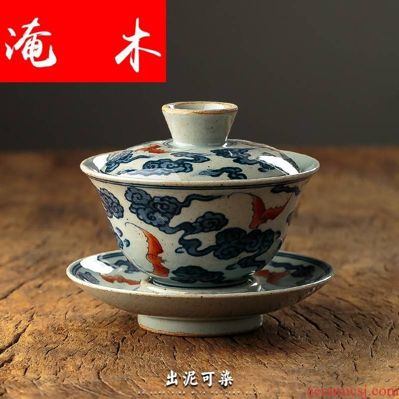 Flooded the wooden hand only three large blue and white porcelain tea tureen suit jingdezhen ceramic cups three sets of kung fu