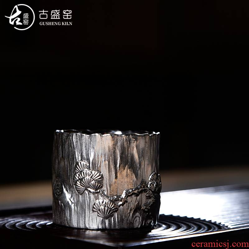 Ancient sheng up new gift boxes ceramic coppering. As silver pine crane tea large sample tea cup tea variable fragrance - smelling cup, master cup