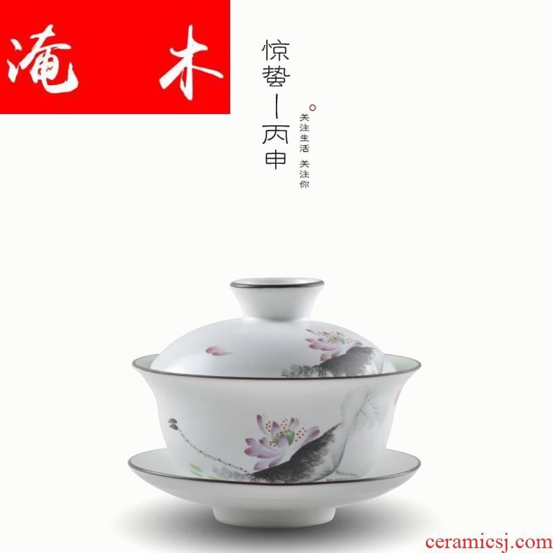 Submerged wood jingdezhen hand - made pastel fat white large three bowl of high - grade tea tureen kung fu tea tea cup