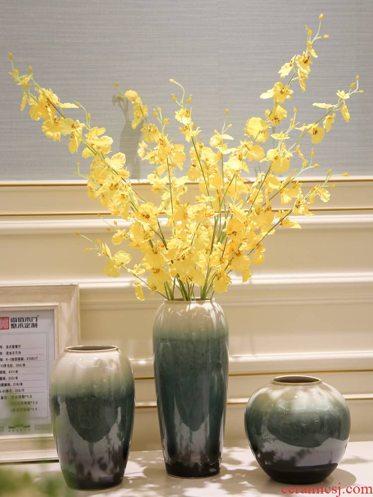Jingdezhen living room TV cabinet porcelain vase of new Chinese style wine furnishing articles dried flowers flower arrangement ceramic flower decorations