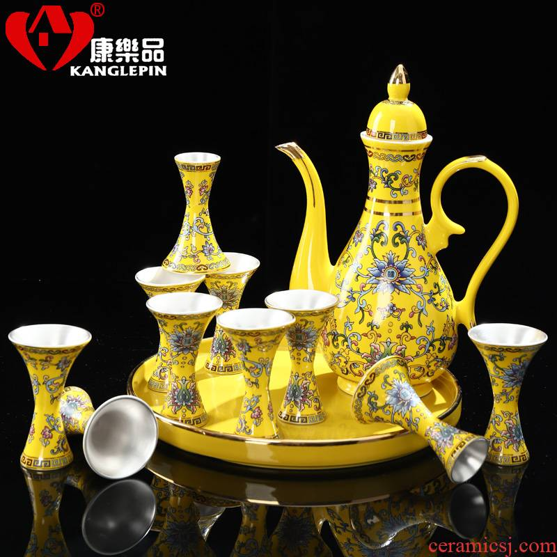 Recreational taste wine suit mine loader 999 silver goblet suit household enamel see colour multicolour wine liquor pot of ceramic points