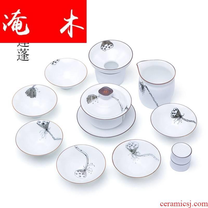 Submerged wood inferior smooth white porcelain hand - made lotus kung fu tea set a complete set of ceramic tureen tea gift set logo