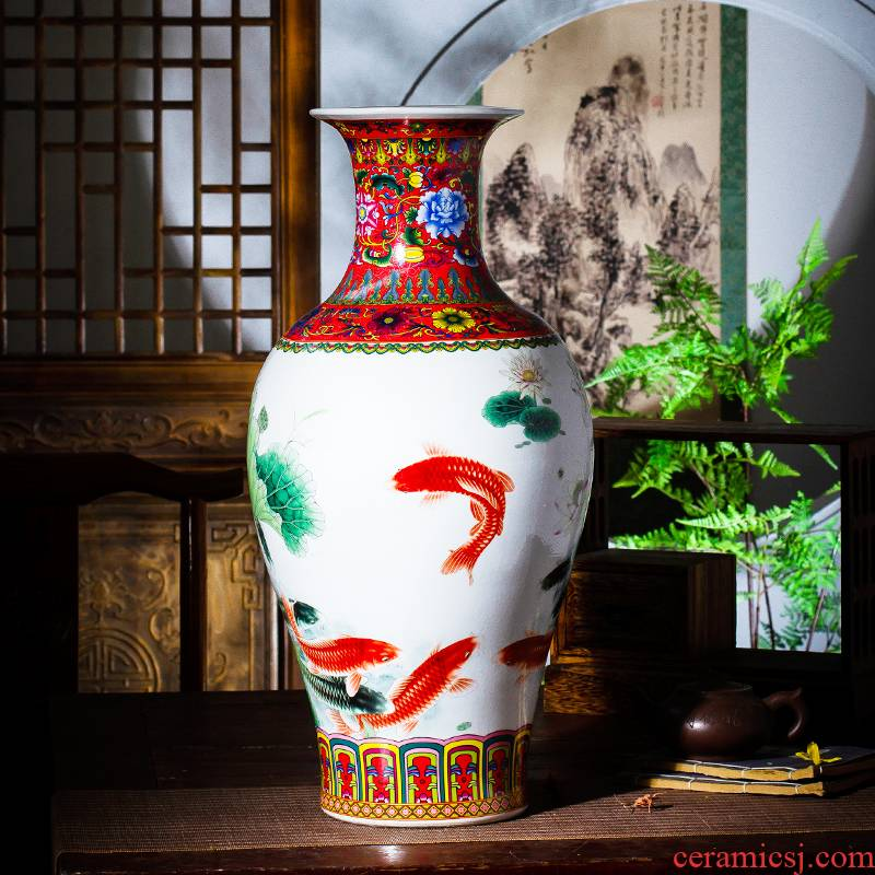 Jingdezhen ceramic vase furnishing articles household act the role ofing is tasted the sitting room of Chinese style restoring ancient ways is rich ancient frame colored enamel large tail bottles