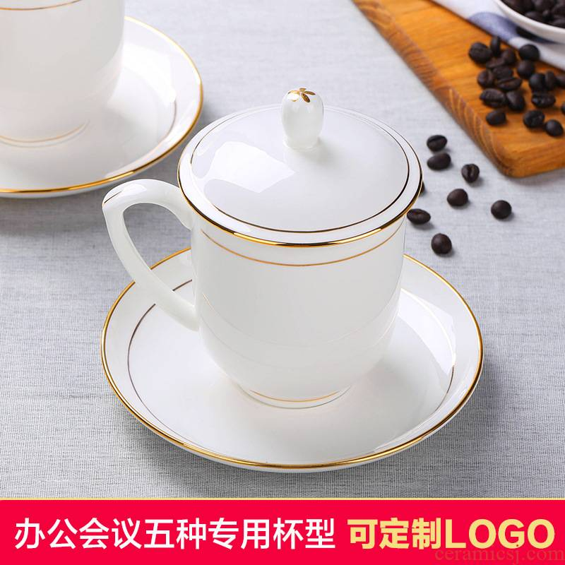 Jingdezhen ceramic cups office cup home with cover ipads porcelain cup tea cups can be customized logo in the meeting room
