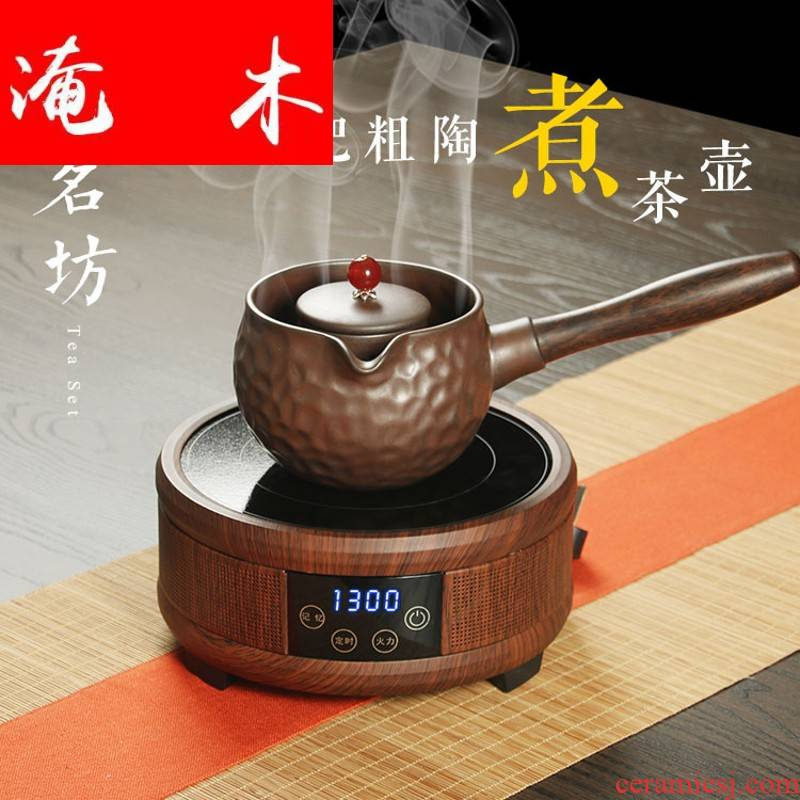 Flooded wooden Japanese coarse pottery lateral brewed tea is solid wooden handle, ceramic electric kettle pu black and white tea TaoLu cooking pot