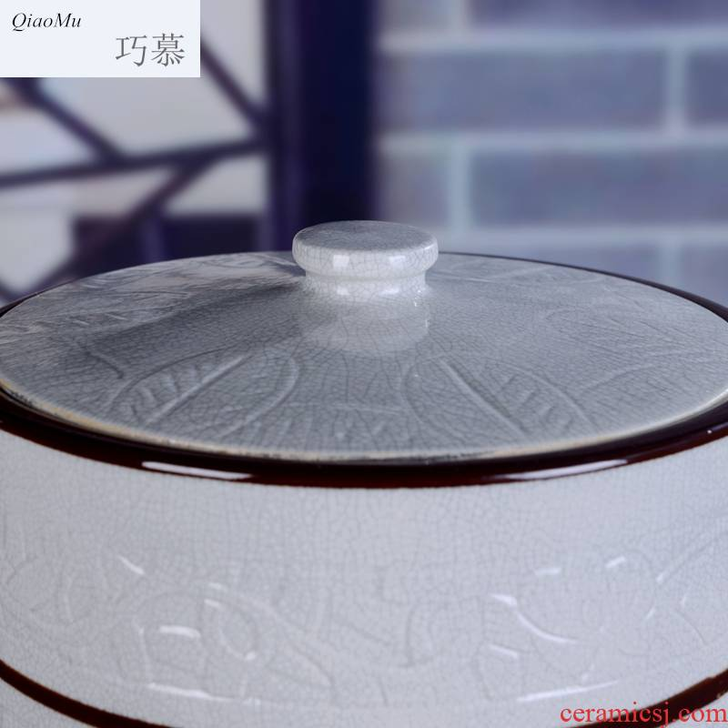 Qiao mu household ceramics ricer box big barrel with cover 40 kg 80 catties more water store ricer box sealed cylinder barrel