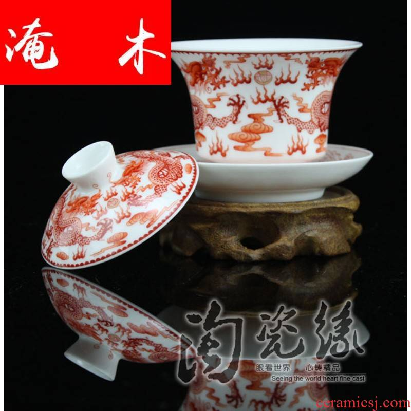 Flooded, rhyme jingdezhen porcelain tea tureen hand - made of hand - made famille rose bowl is only three cup teapot the the CW