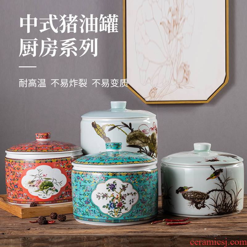 Ceramic household with cover as the sugar high temperature resistant seasoning sauce pot pot hot pepper, cooking pot from lard oil can