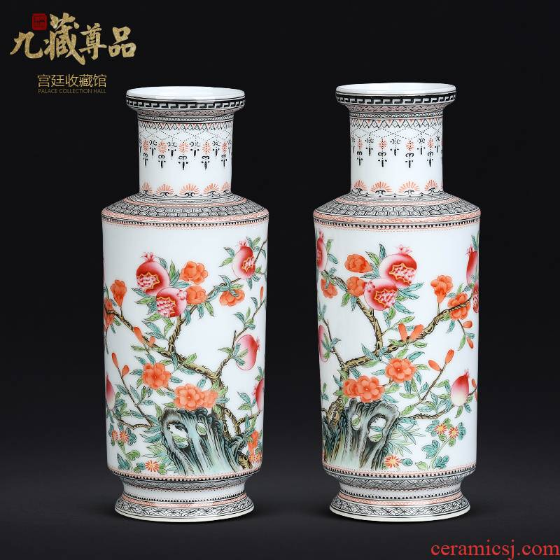 Jingdezhen ceramics Chinese antique hand - made pomegranate vase sitting room porch TV ark, rich ancient frame decorative furnishing articles