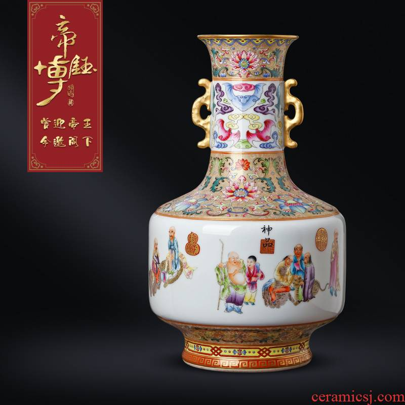 Jingdezhen ceramics imitation the qing qianlong enamel vase characters study Chinese style porch teahouse antique decorative furnishing articles