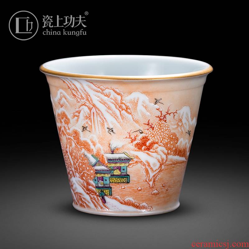 Porcelain on kung fu alum red snow landscape master cup kung fu tea cup single CPU jingdezhen high - end sample tea cup