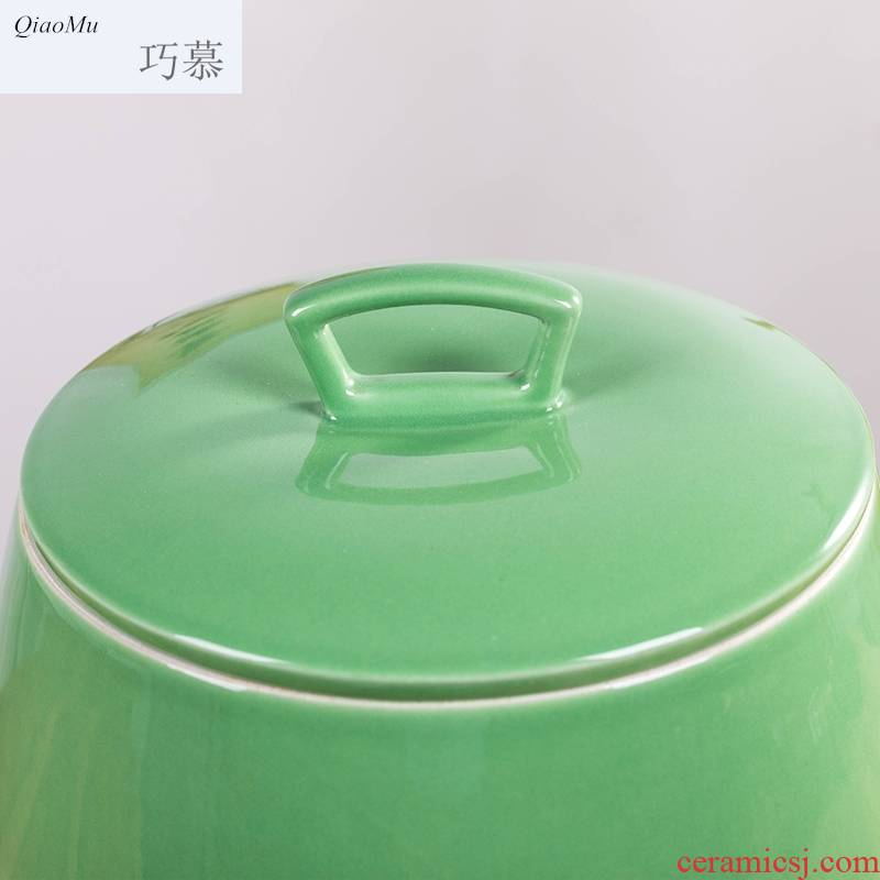 Qiao mu barrel ceramics with cover household ricer box ricer box moistureproof insect - resistant sealed tank 10 jins store kitchen receive flour
