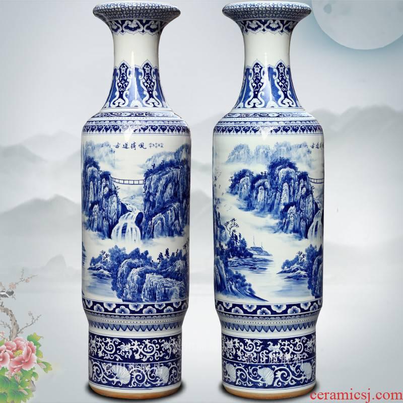 Jingdezhen blue and white ceramics craft painting ancient wind antique vase opening taking 1.8 m 2 m