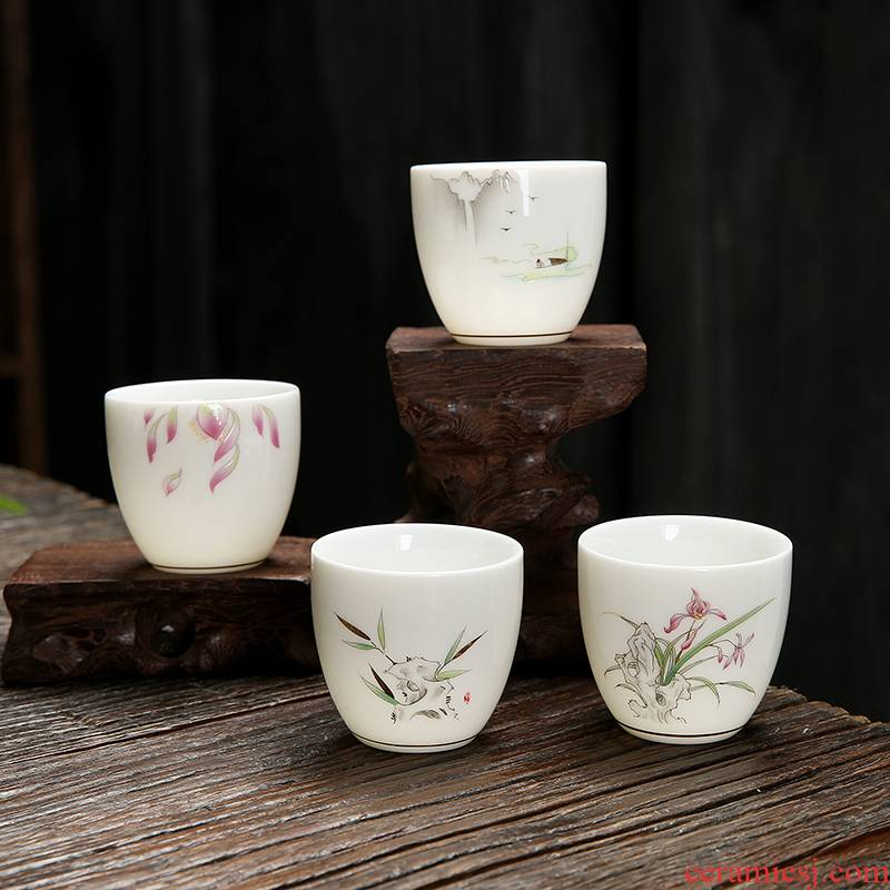 Suet jade porcelain sample tea cup kung fu tea masters cup of household ceramic cups personal little single cup tea light aloes cup
