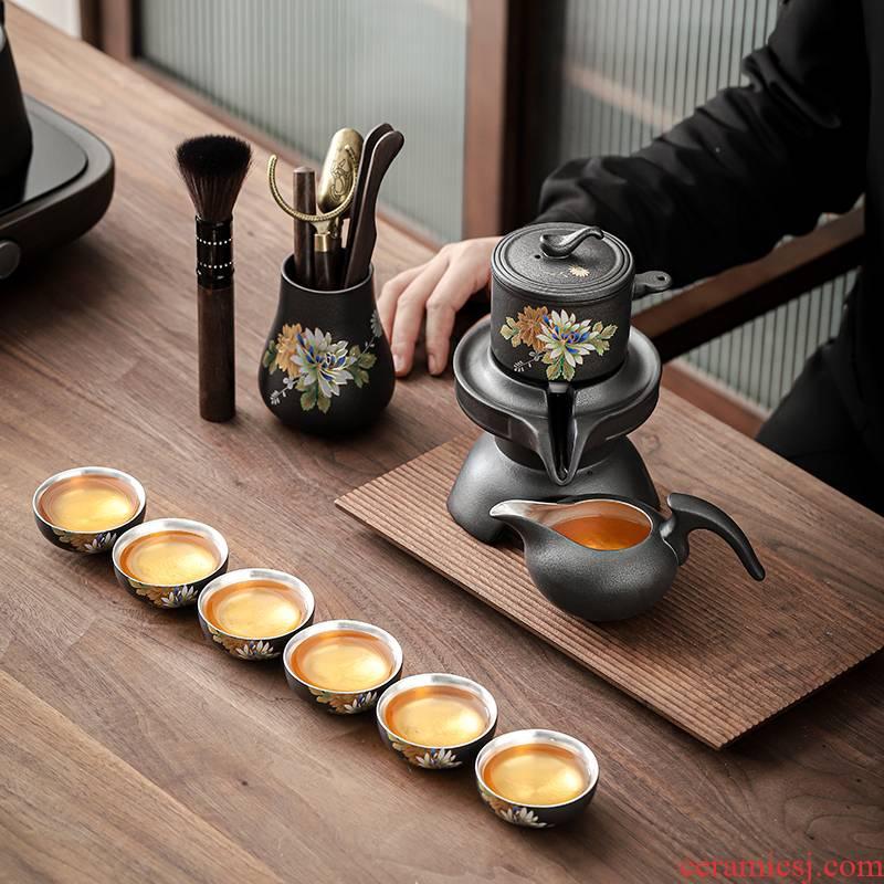 Pick flowers tasted silver gilding automatic tea sets tea set suit of black kung fu tea set rotation silver cup teapot hot pot