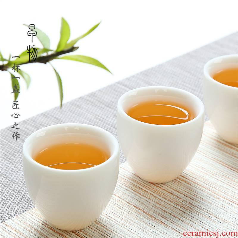 Dehua suet white jade porcelain sample tea cup manual high ceramic kung fu master wen xiang single individual special bowl cups