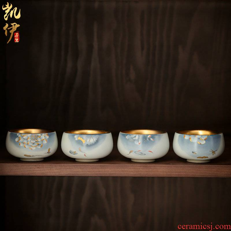 One auspicious lotus open your up can raise jinzhan cup kunfu tea master cup tea sample tea cup of jingdezhen ceramic cup