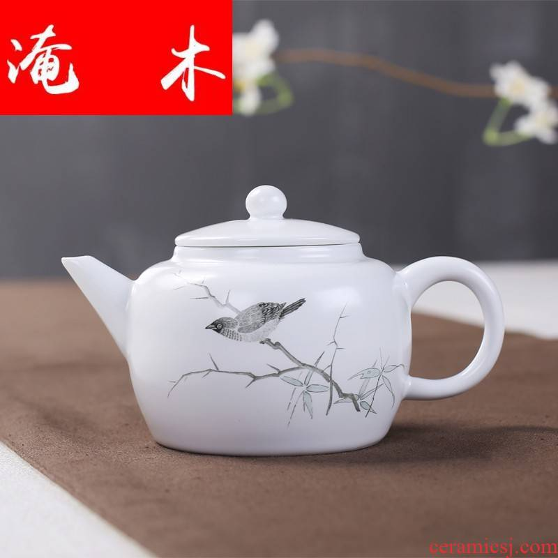 Submerged wood up with jingdezhen ceramic decal color ink fat white teapot kung fu tea set the teapot item tea kettle