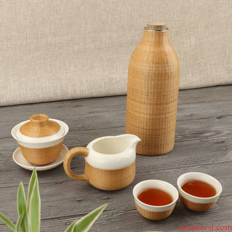 Intangible porcelain body bamboo has by hand only three tureen tea cups with bamboo states porcelain dehua white porcelain tea bowl of tea gift boxes