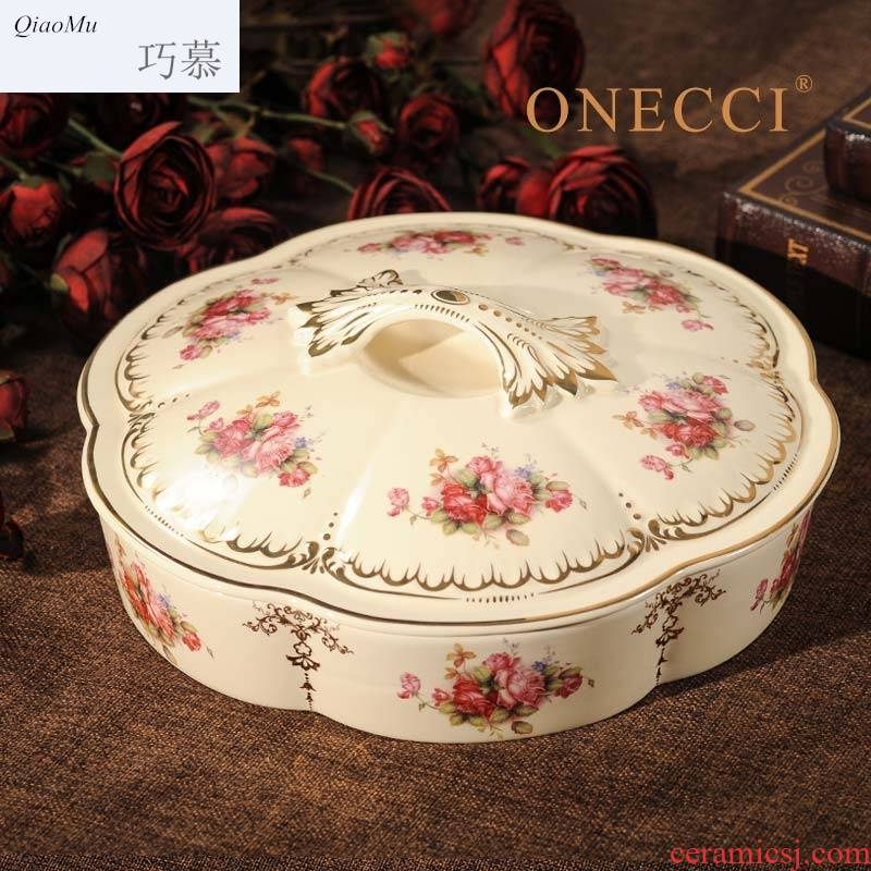 Qiao mu European ceramics, dried fruit dried fruit dribbling cover points box of creative wedding candy snack dish of living water