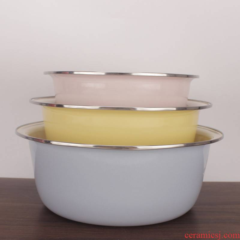 Thickening enamel bowls of household kitchen soup bowl mercifully rainbow such as bowl bowl enamel basin and basin filling lard bathtub cubicle