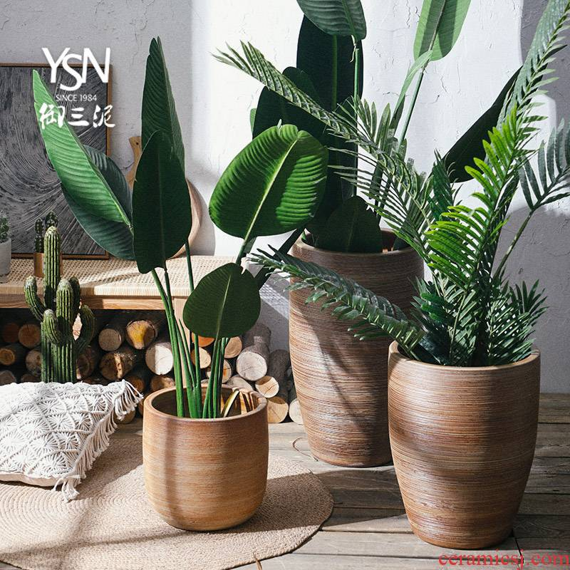 Nordic flowerpot rural ceramic green, the plants in hydroponic pot restoring ancient ways of large diameter indoor the plants dried flowers place vase