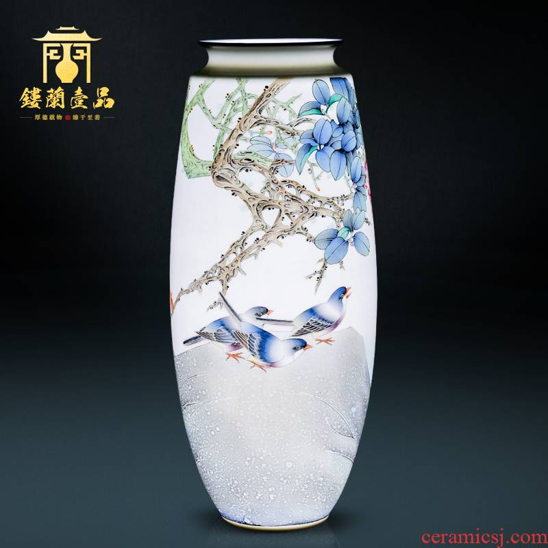 The Master of jingdezhen ceramic all hand - made powder Jane grows fruit large decorative vase flower arrangement of Chinese style household furnishing articles