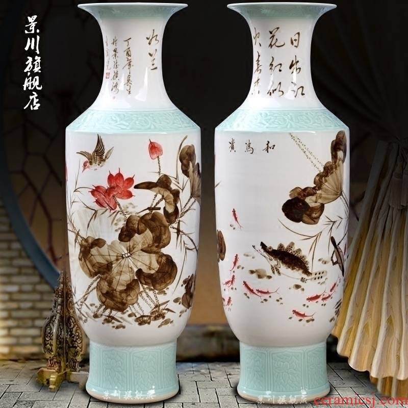 Jingdezhen ceramic fish hand - made harmony lotus sitting room be born big vase household adornment office furnishing articles