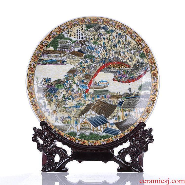 Jingdezhen ceramics powder enamel qingming scroll hanging dish home decoration fashion decoration decoration plate
