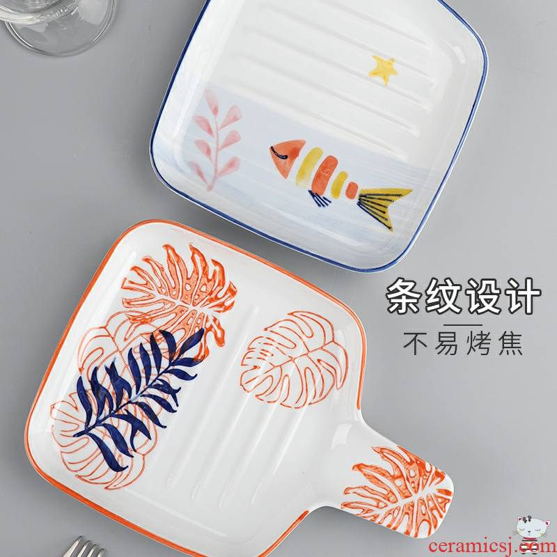 As pan two northern Japanese good - & household ceramics steak dishes ins western - style food tableware oven dish plate