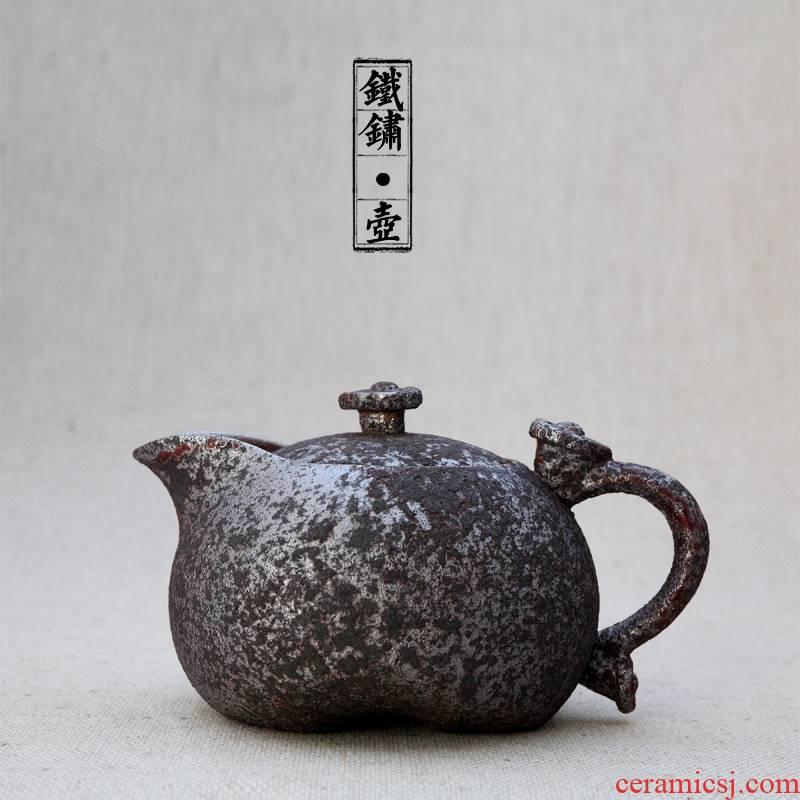 Antique rust glaze ceramic teapot tea machine manual teapot wishful pot of restoring ancient ways kung fu tea set coarse pottery pot type