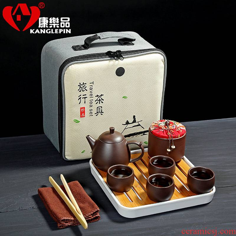 Recreational product yixing it travel four cups of tea portable package suits for kung fu tea set ceramic cups to crack