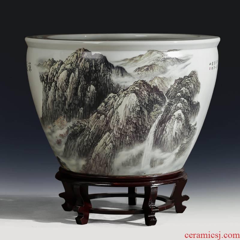 Jingdezhen ceramics large aquarium fish bowl goldfish turtle cylinder to heavy water lily bowl lotus basin porcelain jar furnishing articles