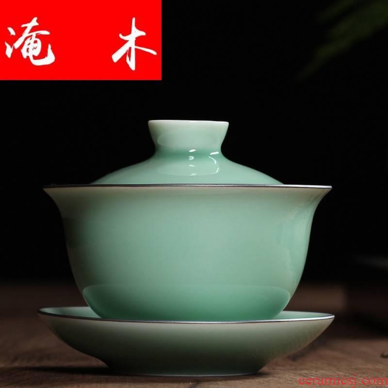 Submerged wood only three tureen ceramic cups name plum green manual kung fu tea tea tea bowl thin body glaze thick