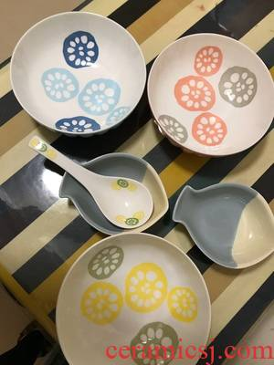 Dishes suit household Japanese - style tableware ceramic bowl Nordic bowl dish and glaze color household ipads porcelain rainbow such use