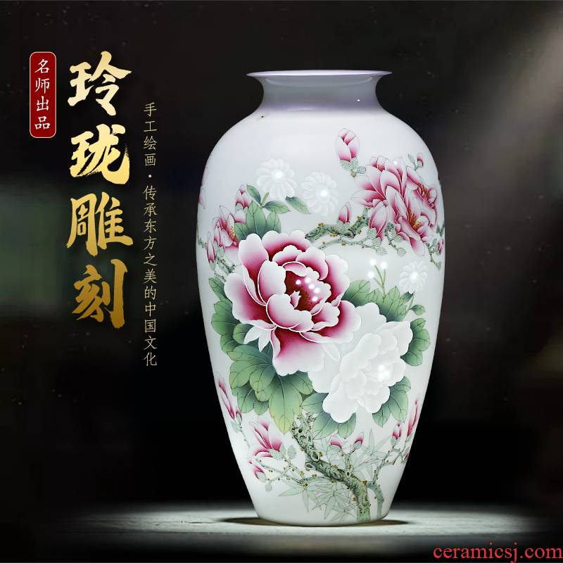 Jingdezhen ceramics master hand carved peony vases, large sitting room of the new Chinese style household decorations furnishing articles