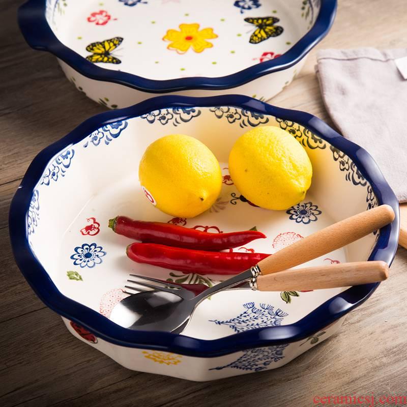 Northern wind INS pie dish put SaPan cheese baked FanPan ceramic fruit bowl sitting room creative European household move